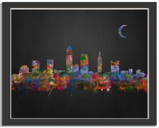 Cleveland Ohio City Skyline Watercolor Brushed