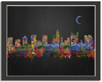 Columbus Ohio City Skyline Watercolor Brushed