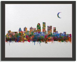 Louisville Kentucky City Skyline Watercolor Faux