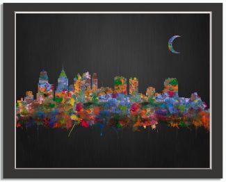 Philadelphia Pennsylvania City Skyline Watercolor Brushed