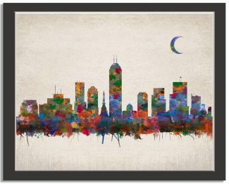 Indianapolis Indiana City Skyline Watercolor Faux