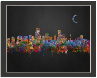 Miami Florida City Skyline Watercolor Brushed