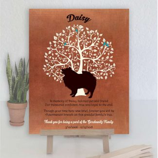 Keeshond Dog, Family Tree, Dog Memorial, Poem, Personalized, Plaque, Sympathy Gift, Loss of Pet, Condolence, Pet Loss Gift, Art Print #1003