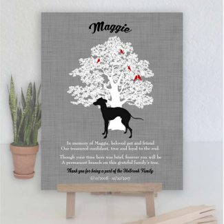 Greyhound Dog, Family Tree, Dog Memorial, Poem, Personalized, Plaque, Sympathy Gift, Loss of Pet, Condolence, Pet Loss Gift, Art Print #1006