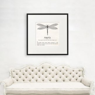 Dragonfly Art, Dictionary Print, Dragonfly Definition,