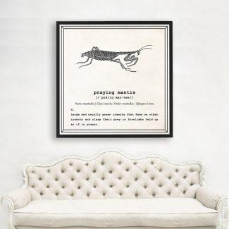 Praying Mantis Art, Dictionary Print, Praying