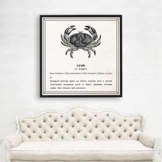 Crab Wall Art, Dictionary Print, Crab