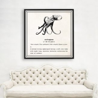 Octopus Wall Art, Dictionary Print, Octopus
