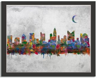Columbus Ohio City Skyline Watercolor Faux