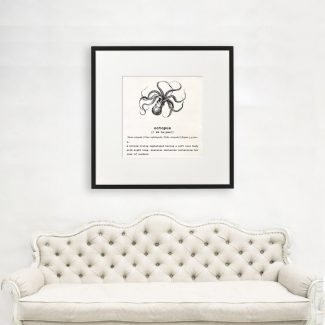 Octopus Art, Dictionary Print, Octopus Definition,