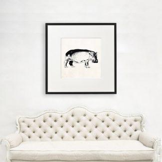 Hippopotamus Wall Art, Large Wall Art,