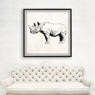 Rhinoceros Wall Art, Large Wall Art,