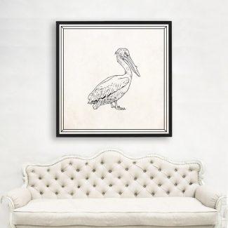 Dalmatian Pelican Art, Large Pelican Wall