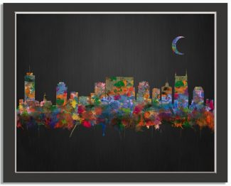 Nashville Tennessee City Skyline Watercolor Brushed