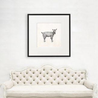Goat Art Gift, Large Animal Wall