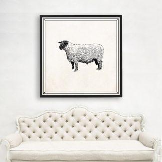 Sheep Wall Art, Large Animal Wall