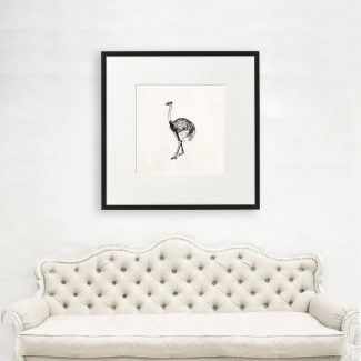 Ostrich Wall Art, Large Ostrich Wall
