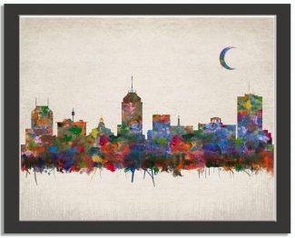 Fresno Bay California City Skyline Watercolor