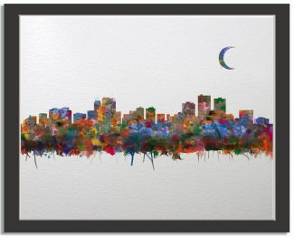 Anchorage Alaska City Skyline Watercolor Faux Watercolor Paper Background #AD-1008