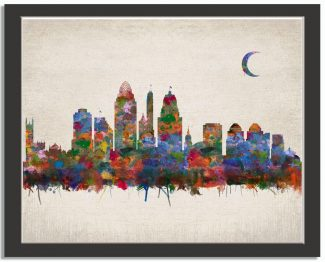 Cincinnati Ohio City Skyline Watercolor Faux