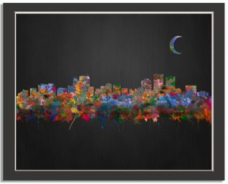 Anchorage Alaska City Skyline Watercolor Brushed Black Background #AD-1006