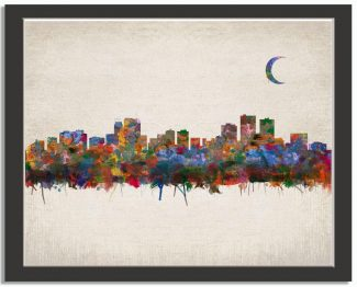 Anchorage Alaska City Skyline Watercolor Faux Vintage Background #AD-1010
