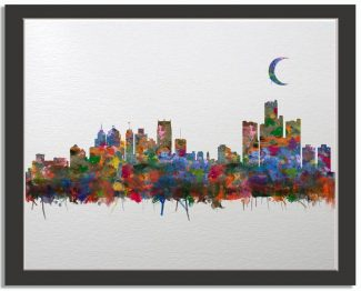 Detroit Michigan City Skyline Watercolor Faux