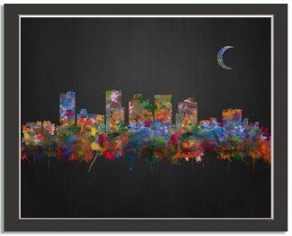 Phoenix Arizona City Skyline Watercolor Brushed