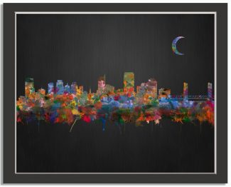 Sacramento California City Skyline Watercolor Brushed