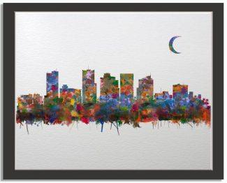 Phoenix Arizona City Skyline Watercolor Faux