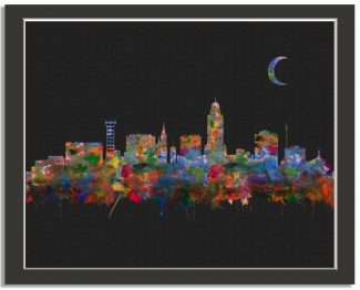 Lincoln Nebraska City Skyline Watercolor Faux