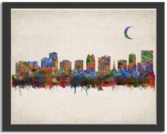 Orlando Florida City Skyline Watercolor Faux