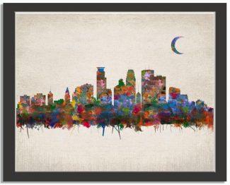 Minneapolis Minnesota City Skyline Watercolor Faux