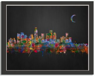 Los Angeles City Skyline Watercolor Brushed