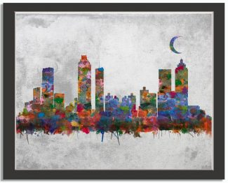 Atlanta Georgia City Skyline Watercolor Faux