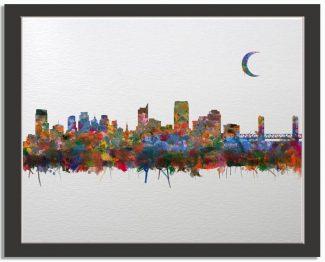 Sacramento California City Skyline Watercolor Faux