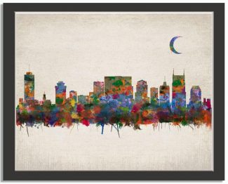 Nashville Tennessee City Skyline Watercolor Faux