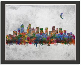 Charlotte North Carolina City Skyline Watercolor