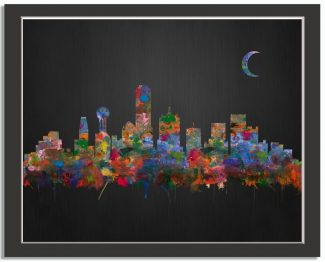 Dallas Texas City Skyline Watercolor Brushed