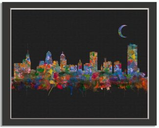 Buffalo New York City Skyline Watercolor