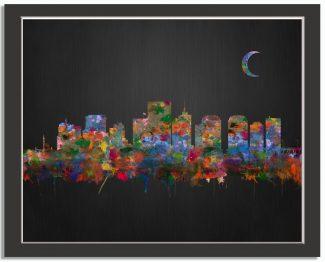 Richmond Virginia City Skyline Watercolor Brushed