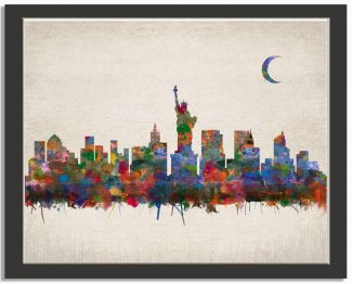 New York City City Skyline Watercolor
