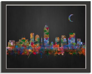 Indianapolis Indiana City Skyline Watercolor Brushed