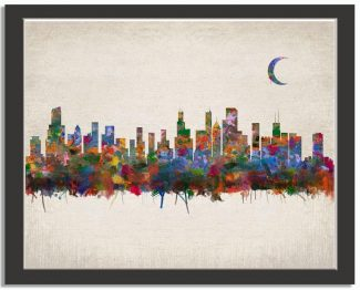 Chicago Illinois City Skyline Watercolor Faux