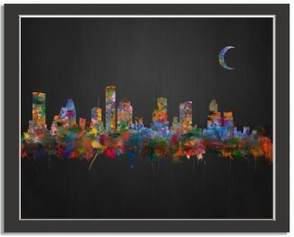 Houston Texas City Skyline Watercolor Brushed