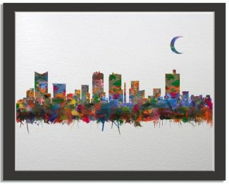 Fort Worth Texas City Skyline Watercolor