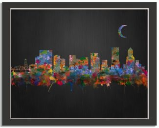 Portland Oregon City Skyline Watercolor Brushed