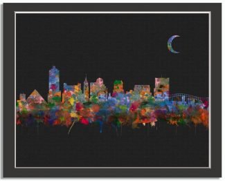 Memphis Tennessee City Skyline Watercolor Faux