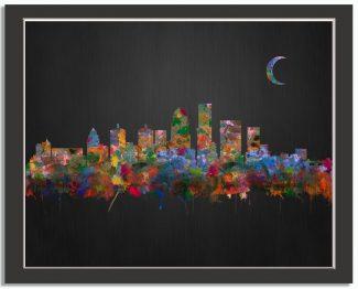 Louisville Kentucky City Skyline Watercolor Brushed