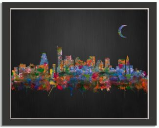 Boston Massachusetts City Skyline Watercolor Brushed